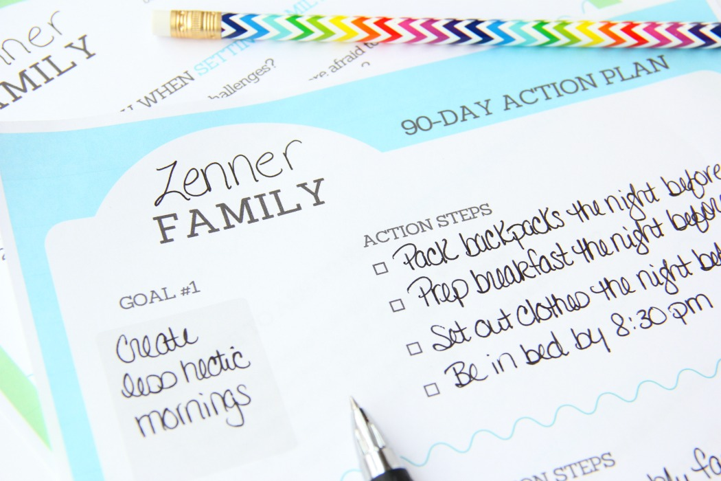 Family Goal Setting Printable - Free 90-day action plan printable to help your family set manageable goals you can work together to achieve.