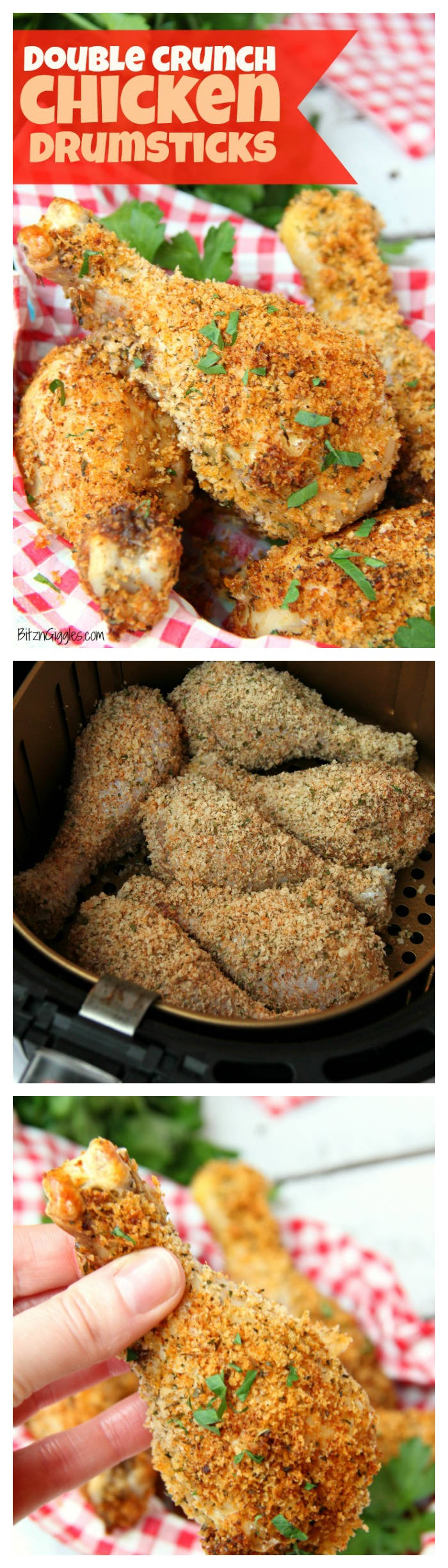Double Crunch Chicken Drumsticks - These chicken drumsticks are super crunchy on the outside and packed with flavor! Make them in the air fryer or the oven!