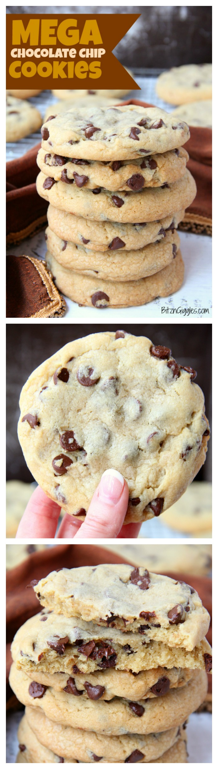 Mega Chocolate Chip Cookies - Your guests eyes will get as big as these cookies when they see and taste the soft, chewy deliciousness!