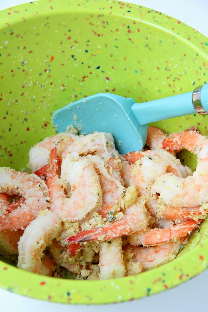 Air Fryer Parmesan Shrimp - Simple and flavorful garlic and parmesan air-fried shrimp, ready in 10 minutes!