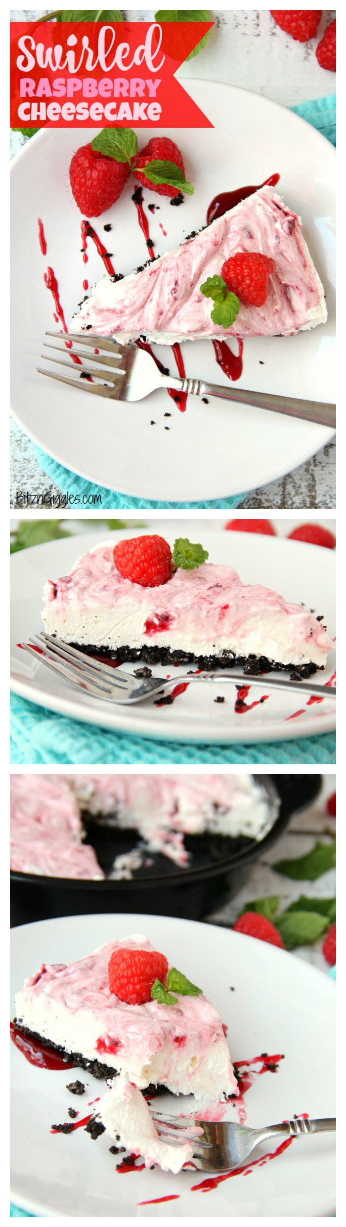 Swirled Raspberry Cheesecake -A fluffy Oreo-crust cheesecake with decadent raspberry swirls.