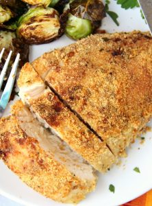 Air Fryer Parmesan Chicken - A mixture of Parmesan cheese and breadcrumbs make this chicken an easy and delicious meal the whole family will love!