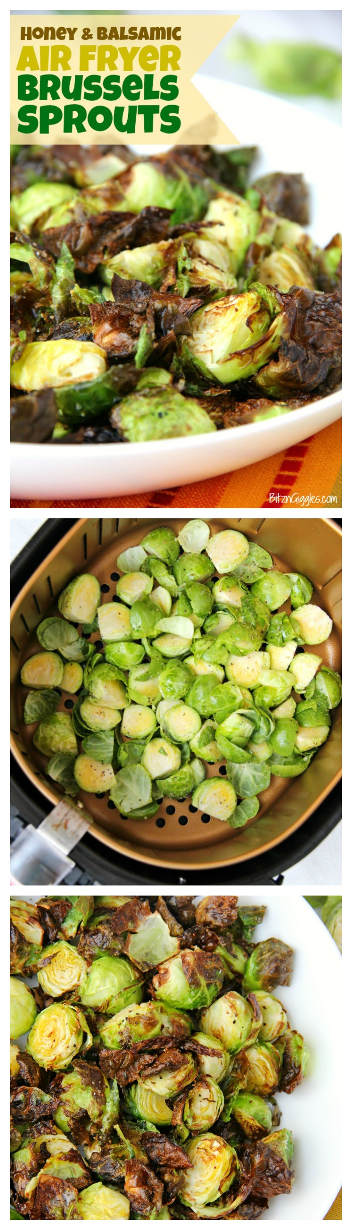 Honey and Balsamic Air Fryer Brussels Sprouts - Crispy and flavorful brussels spouts with notes of honey and balsamic. This is the only way I prepare brussels sprouts now!