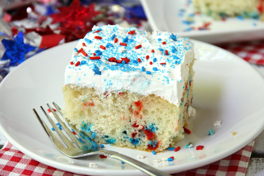 Red White and Blue Funfetti Cake