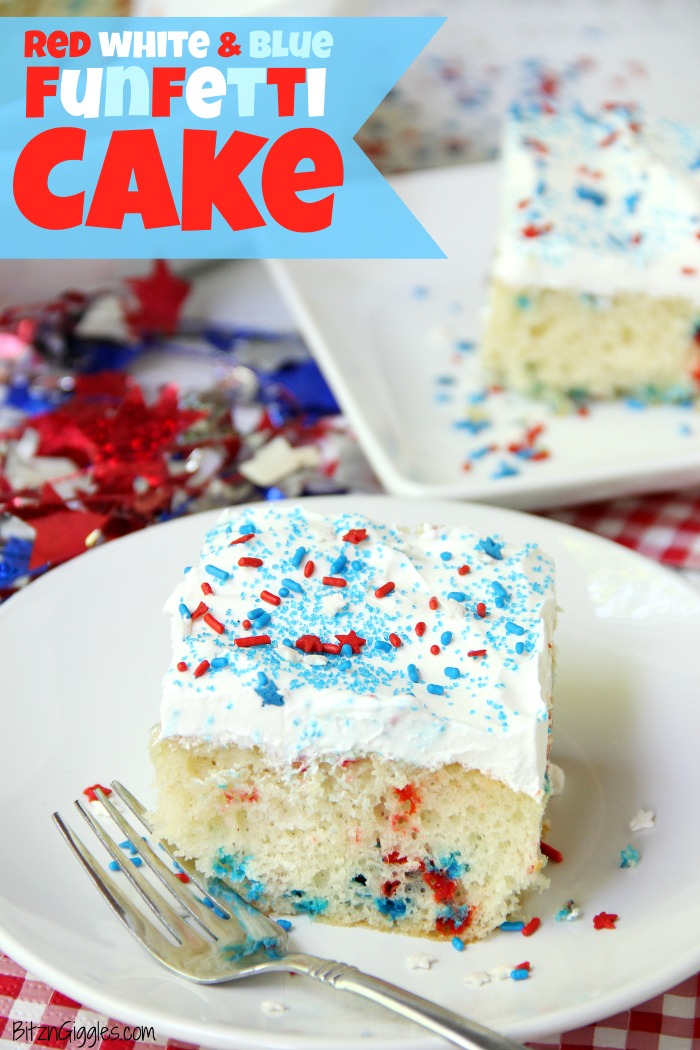 Red White & Blue Funfetti Cake - A simple DIY funfetti cake made with a box cake mix and sprinkles! So easy and perfect for Memorial Day and 4th of July!