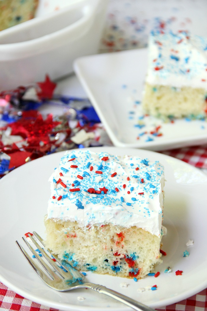 Red White & Blue Funfetti Cake - A simple DIY funfetti cake made with a box cake mix and sprinkles! So easy and perfect Memorial Day and 4th of July!