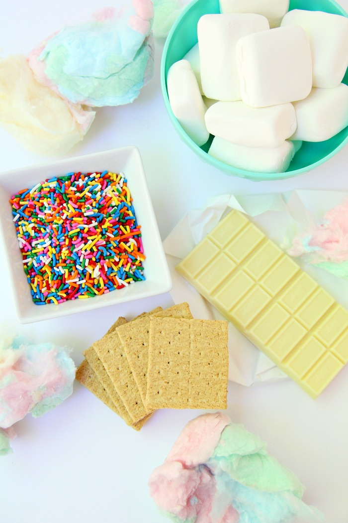 Cotton Candy S'mores - Cotton candy, white chocolate and sprinkles steal the show in this delicious and sweet spin on the traditional s'more!