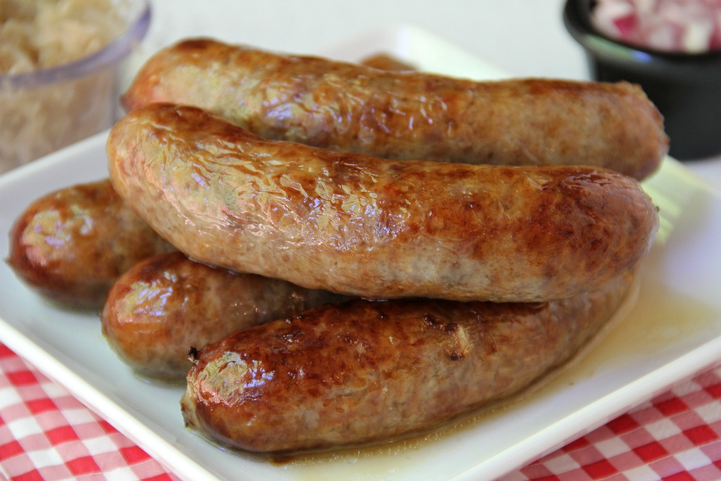 Air Fryer Beer Brats - Brats boiled in beer and onions and then air fried to perfection!