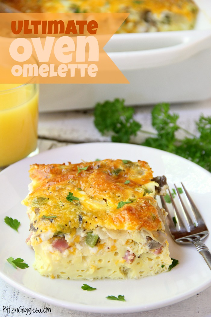 Ultimate Oven Omelette - This breakfast oven omelette is filled with veggies, ham and cheese and baked in the oven. Perfect for a party crowd!