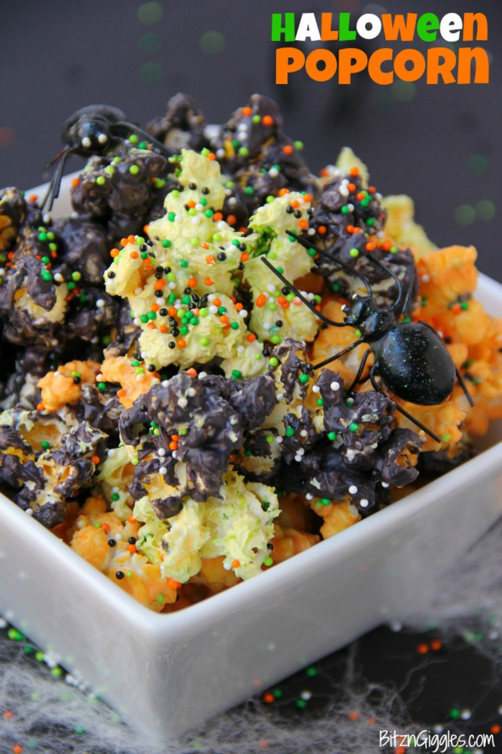 Halloween Popcorn – Candy-coated popcorn with sprinkles and a Halloween flair!