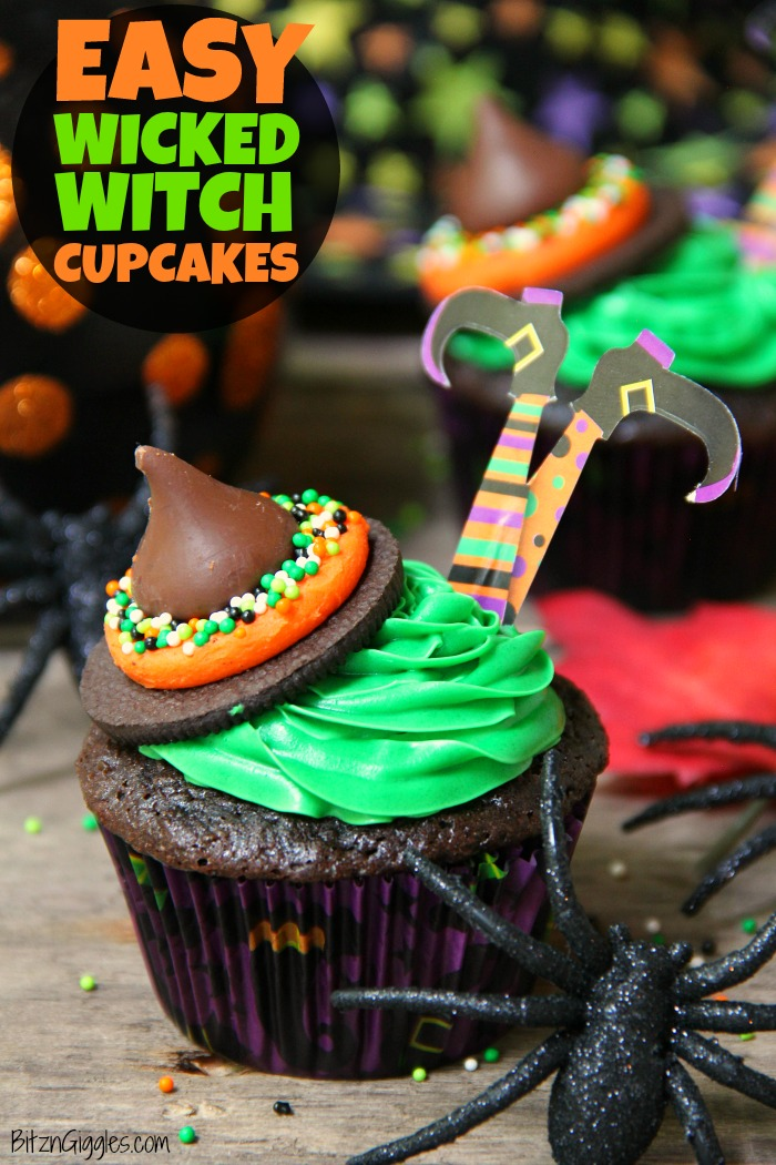 Easy Wicked Witch Cupcakes - These Halloween witch cupcakes are so easy to create. They look so professional yet they go together quickly with a few simple hacks!