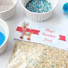 Magic Reindeer Food With Free Printable - Kids will love to sprinkle this Magic Reindeer Food in their yard to guide the reindeer to their home on Christmas Eve. Includes recipe + FREE printable bag topper!