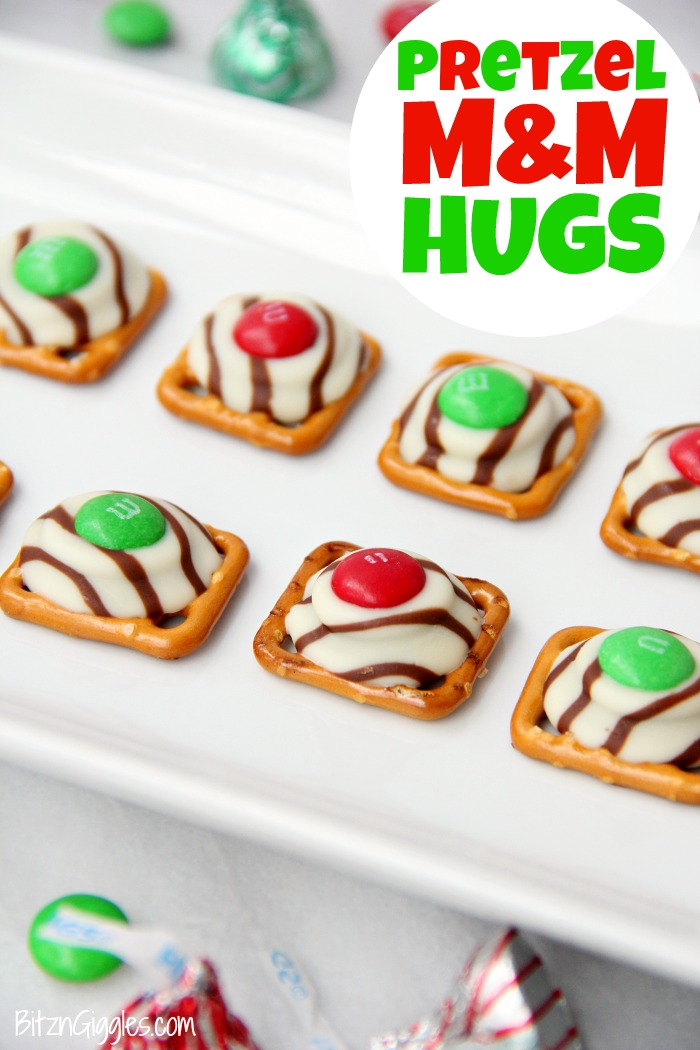 Pretzel M&M Hugs- Sweet and salty three-ingredient bite-sized treats perfect for Christmas and the holidays!