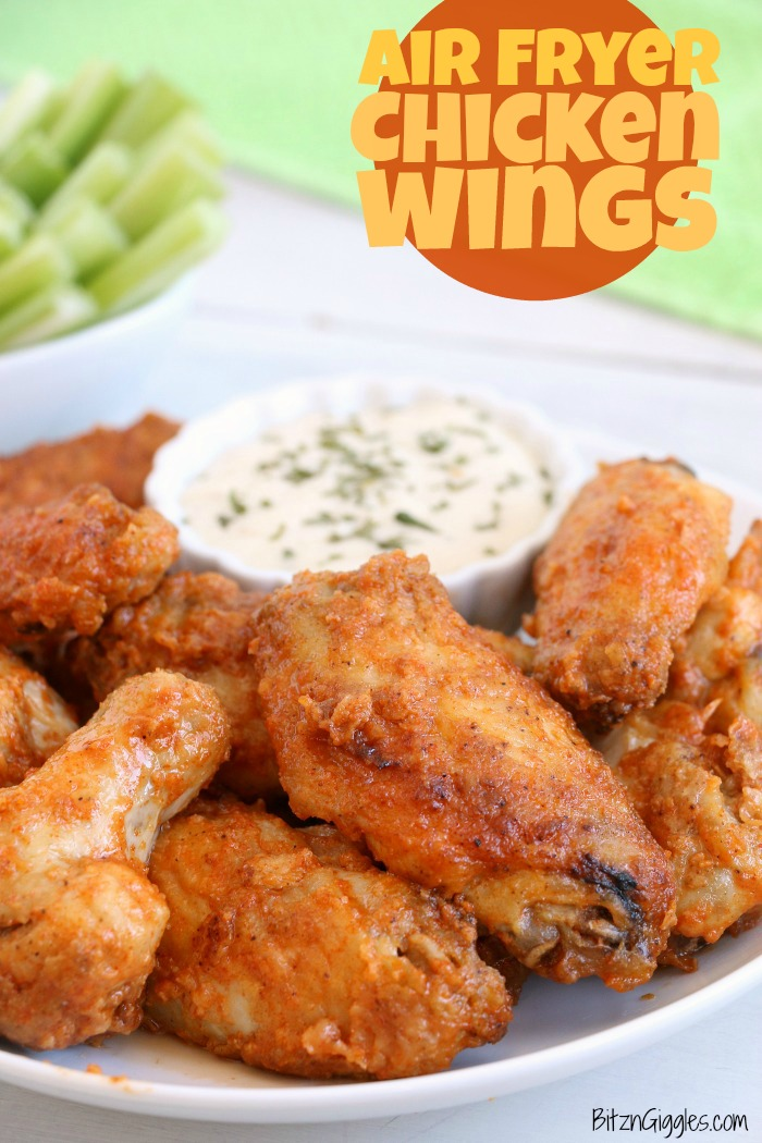 Air Fryer Chicken Wings - Delicious hot wings made in the air fryer in under 20 minutes. Use the sauce recipe provided or choose your favorite sauce!