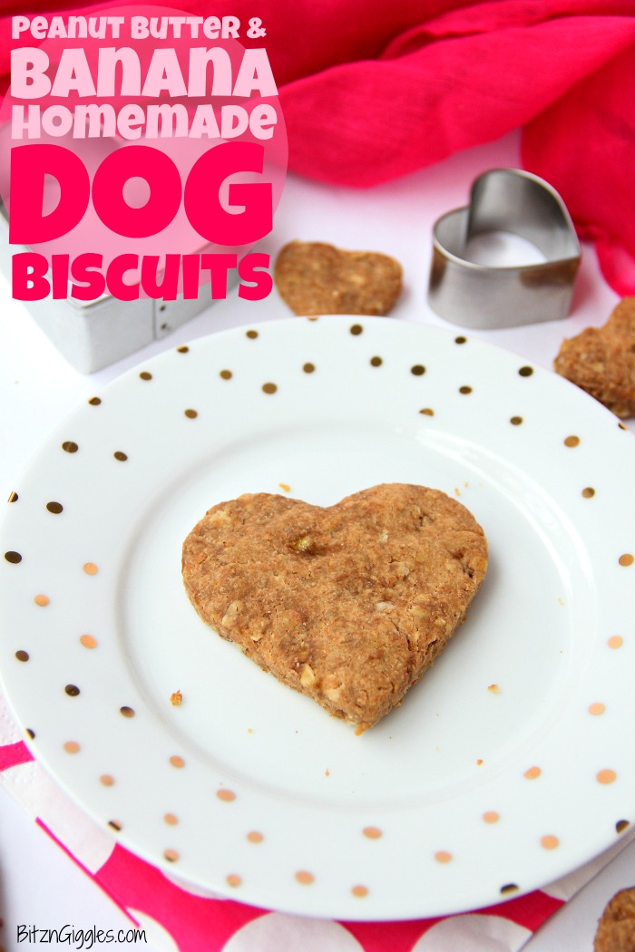 Peanut Butter and Banana Homemade Dog Biscuits - Five-ingredient chewy dog biscuits made with peanut butter, oats and banana. Your dog will love these!