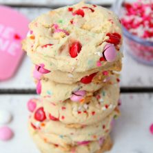 5-Ingredient Funfetti Cake Mix Cookies - Easy, moist, cake-like cookie decorated with M&Ms and sprinkles.