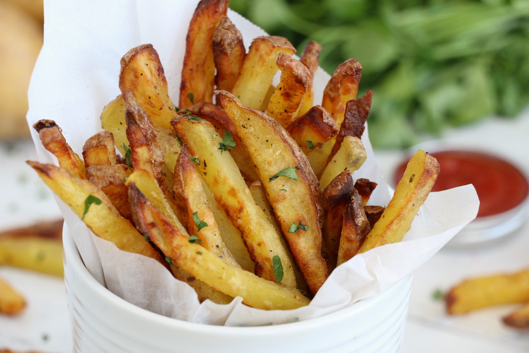 Air Fryer French Fries - Delicious hand cut fries made in the air fryer with 75% less fat than deep frying!