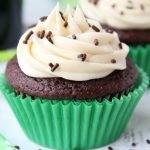 Guinness Cupcakes With Bailey's Frosting - Easy & delicious rich chocolate cupcakes spiked with Guinness and topped with creamy Bailey's Irish Cream frosting!