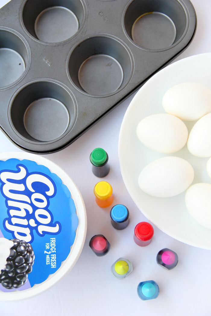 Cool Whip Easter Eggs - Cool Whip helps produce swirls of gorgeous color in this family-friendly DIY easter egg dyeing method!