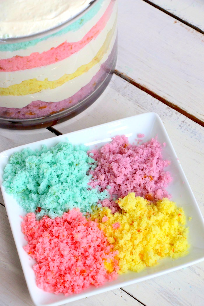 Easter Dessert Trifle - An easy and colorful spring trifle dessert made with white cake and a sweet creamy filling!