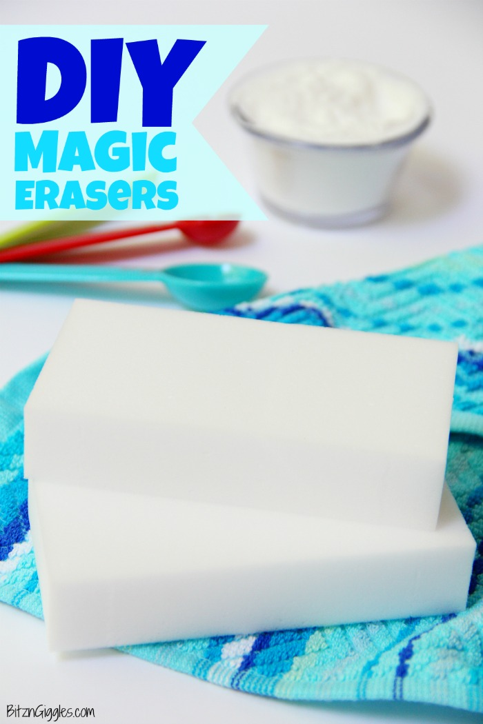 DIY Magic Erasers - Make your own Magic Erasers at home for cheap! All you need is water and three ingredients. You'll be amazed at how well they work!