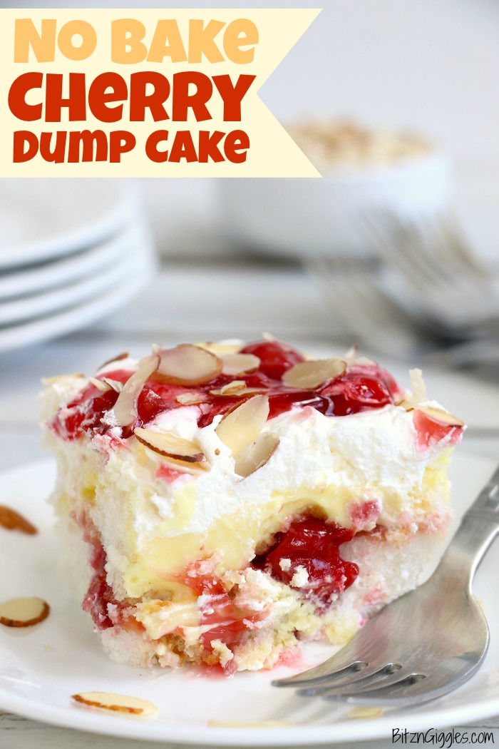 No Bake Cherry Dump Cake - An easy, no-bake cherry trifle dessert with layers of angel food cake, sour cream, pudding, cherry pie filling and whipped topping.