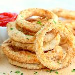 Air Fryer Onion Rings - Fresh onion slices dredged in a flavorful breadcrumb mixture and air fried until crispy and perfectly golden.
