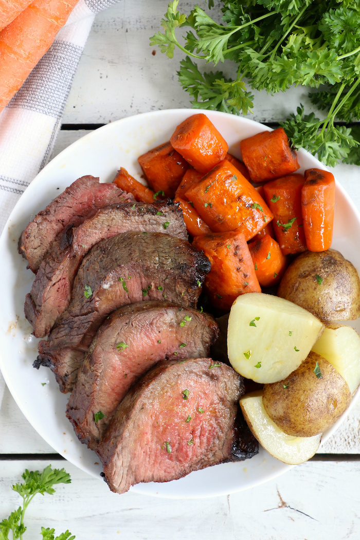 Air Fryer Pot Roast - Fork-tender beef roast, marinated, then air fried to perfection. Cook time is only 30 minutes!