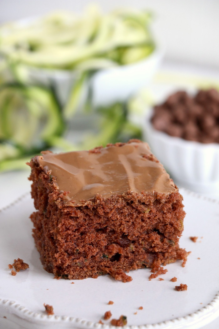 Zucchini Cake - Rich and moist chocolate zucchini cake topped with chocolate peanut butter frosting.
