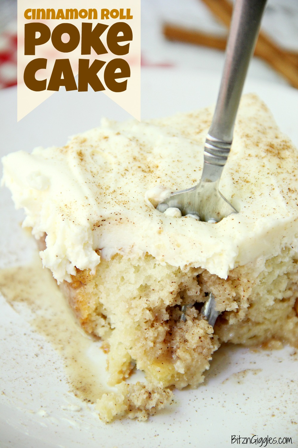 Cinnamon Roll Poke Cake - A soft and moist poke cake filled with a sweet cinnamon filling and topped with a homemade cream cheese frosting that melts in your mouth.