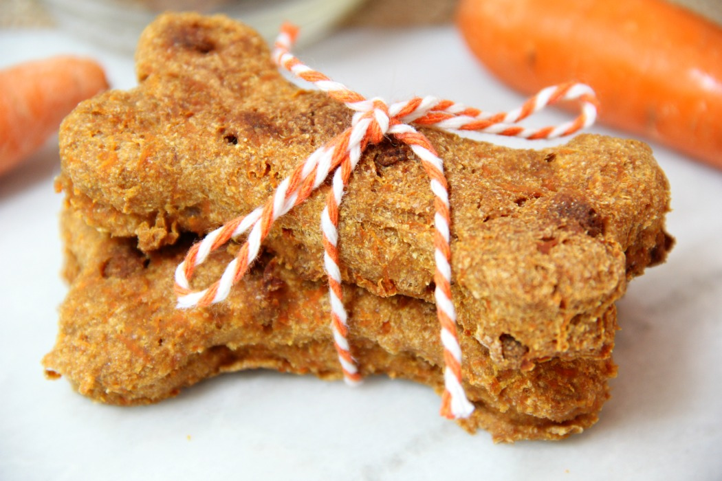 Crunchy Carrot Dog Biscuits - Flavorful, crunchy homemade dog biscuits naturally sweetened with carrots and applesauce.