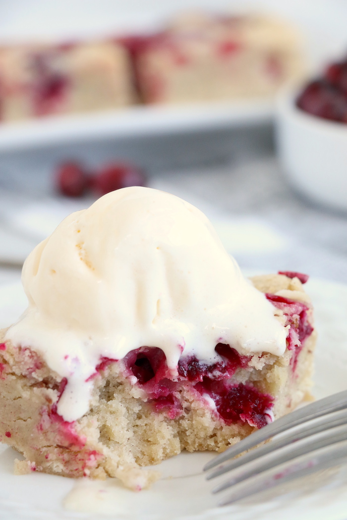 Easy Cranberry Cake - An easy and delicious cake bursting with tart cranberries. Top with vanilla ice cream and enjoy!
