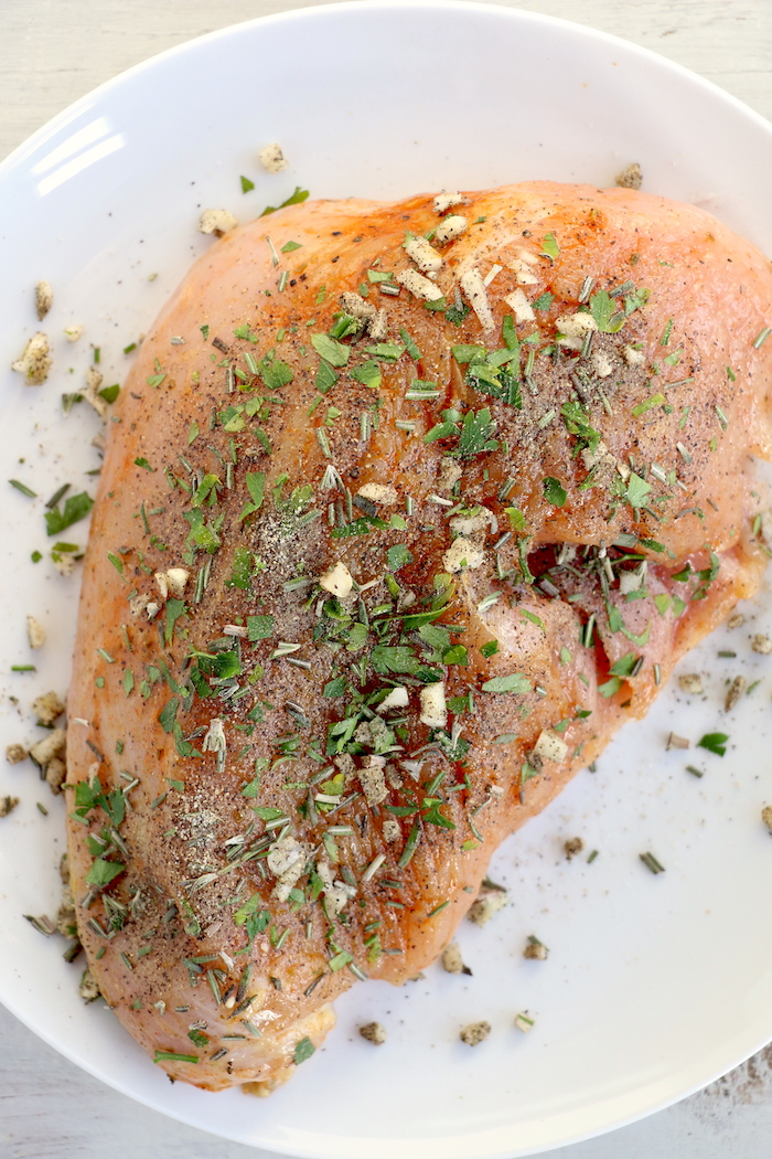 Air Fryer Turkey Breast - Garlic and fresh herb-seasoned turkey in the air fryer - moist and juicy on the inside with a crispy, golden brown skin on the outside.