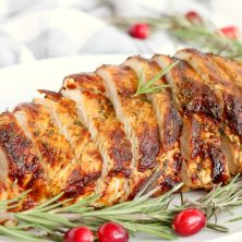 Air Fryer TurkeyBreast - Garlic and fresh herb-seasoned turkey in the air fryer - moist and juicy on the inside with a crispy, golden brown skin on the outside.