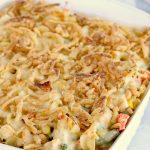 Easy Turkey Casserole - A cheesy casserole filled with turkey and vegetables and topped with crunchy, French fried onions!