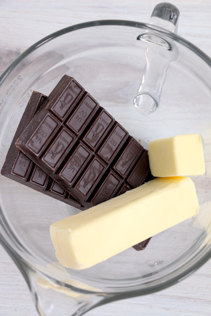chocolate and butter in a glass bowl