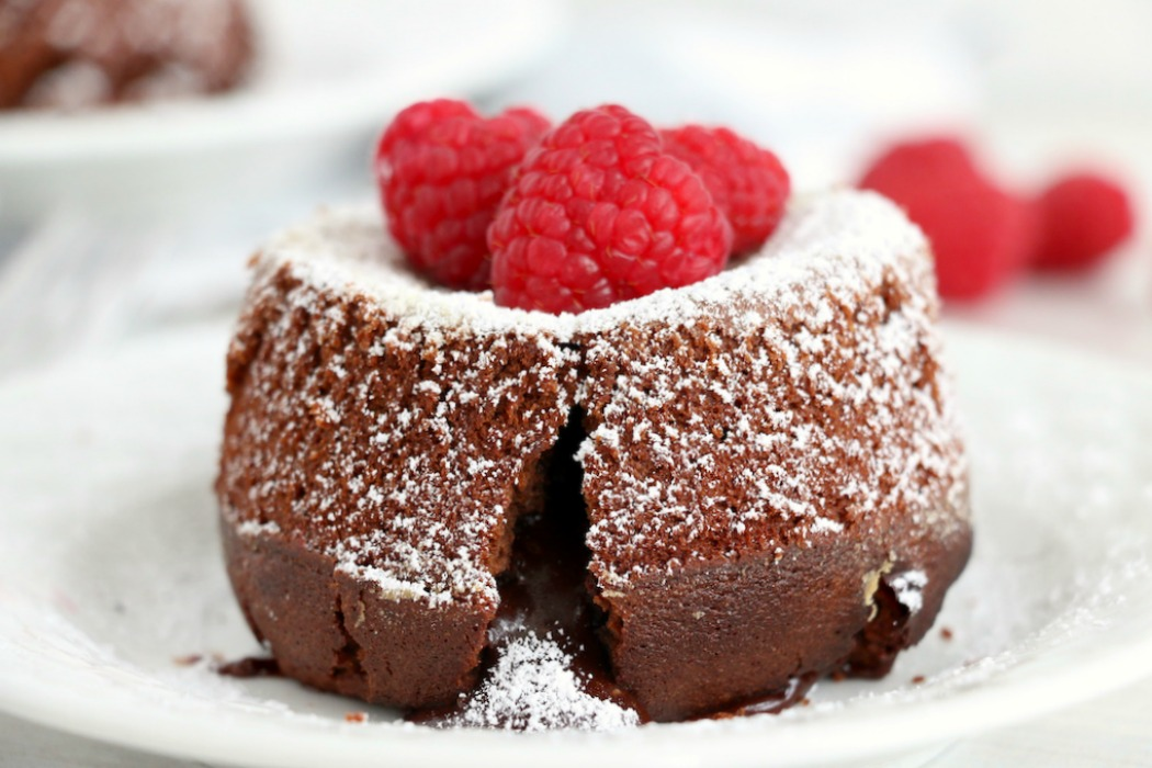 lava cake with raspberries on top