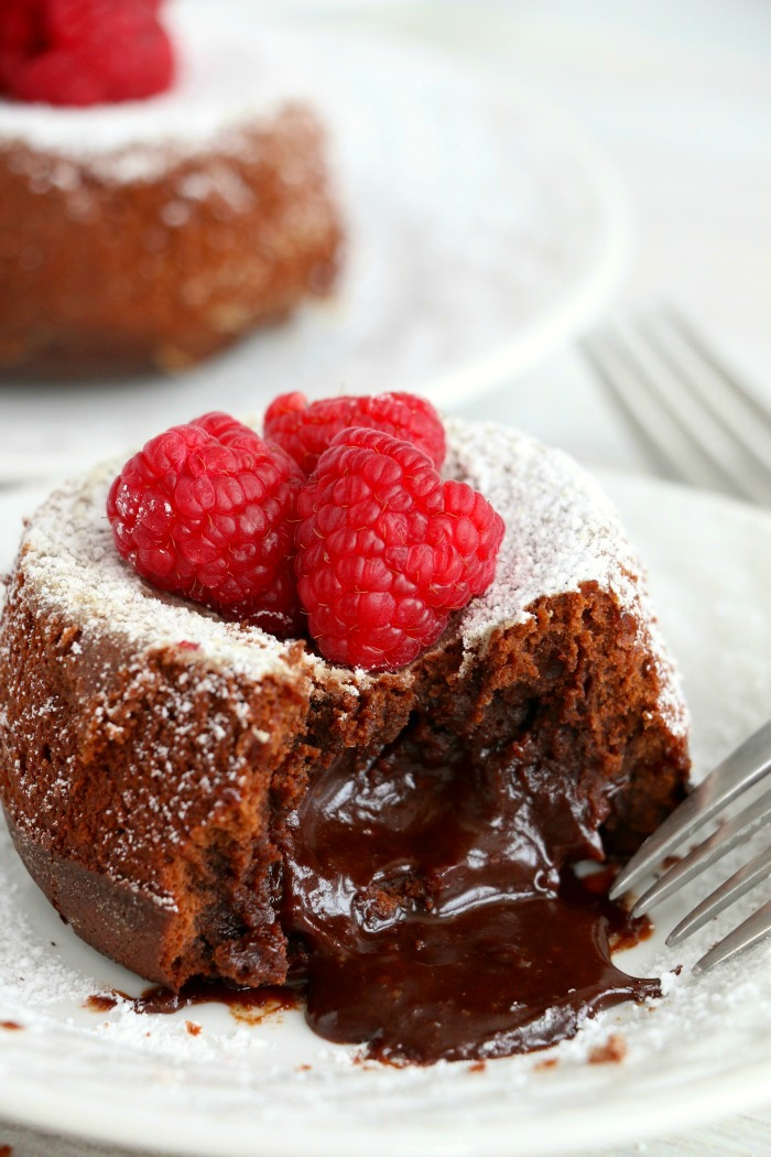 molten lava cakes with chocolate spilling out