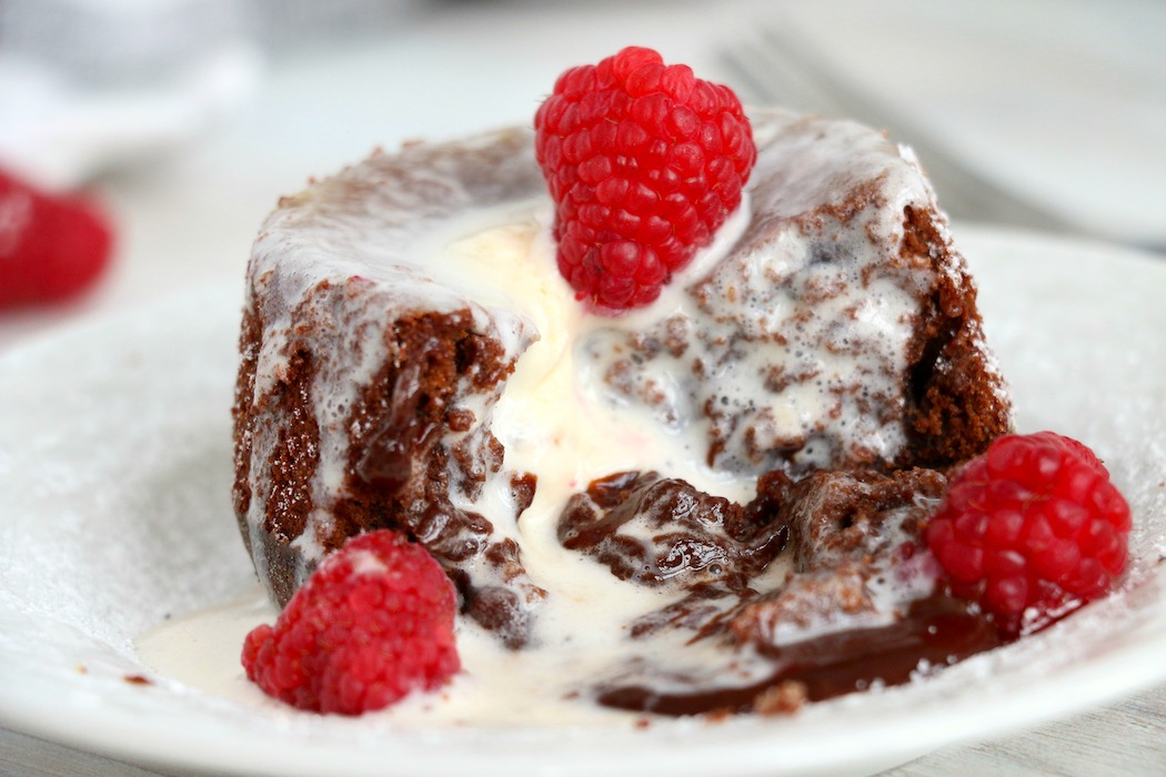 chocolate molten lava cake with vanilla ice cream
