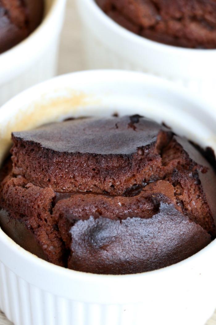 molten lava cake in white ramekin