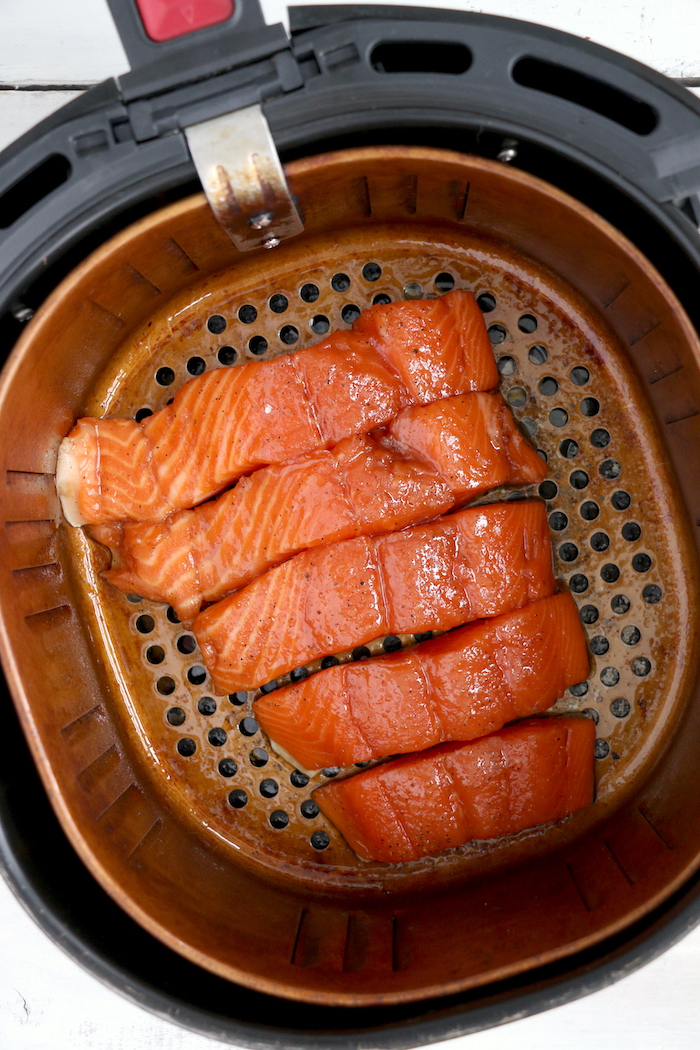 Salmon fillets in an air fryer