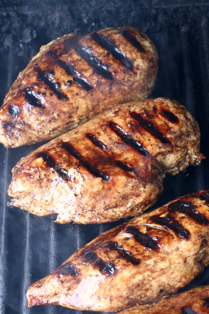 chicken breasts on the grill