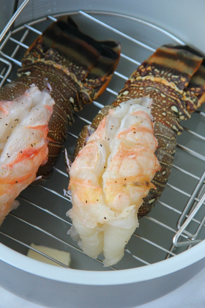 lobster tails on rack in Ninja Foodi pot