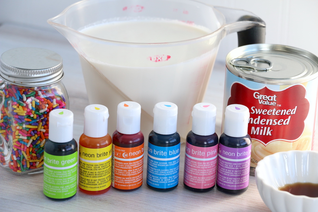 food coloring and ingredients for rainbow ice cream