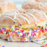 Donut ice cream sandwich with sprinkles