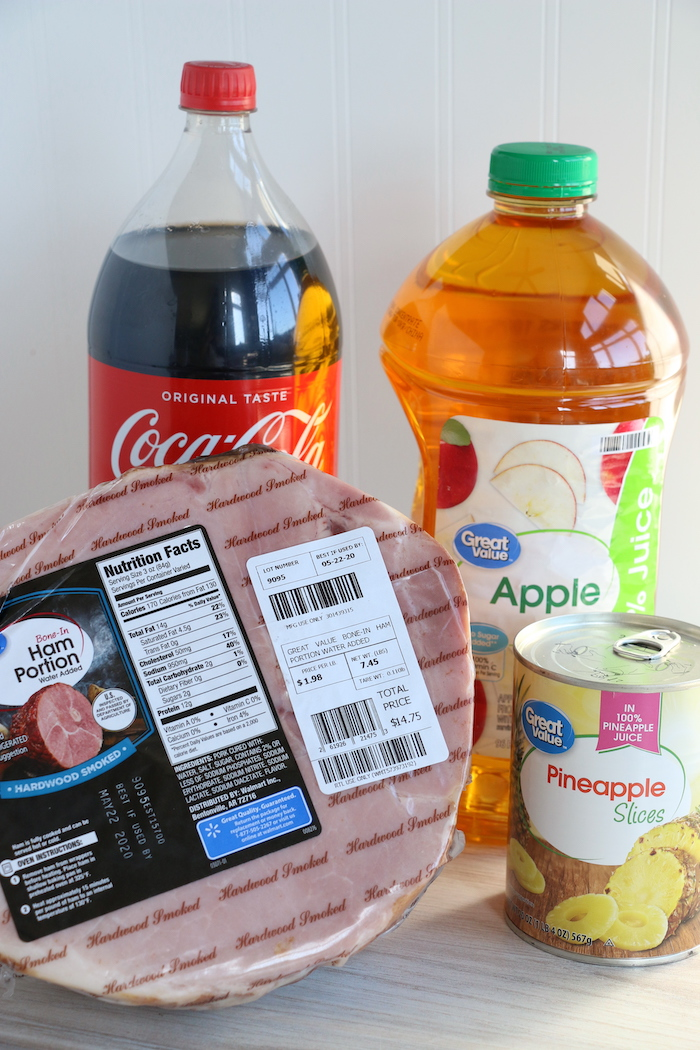 Ingredients for ham in the pressure cooker