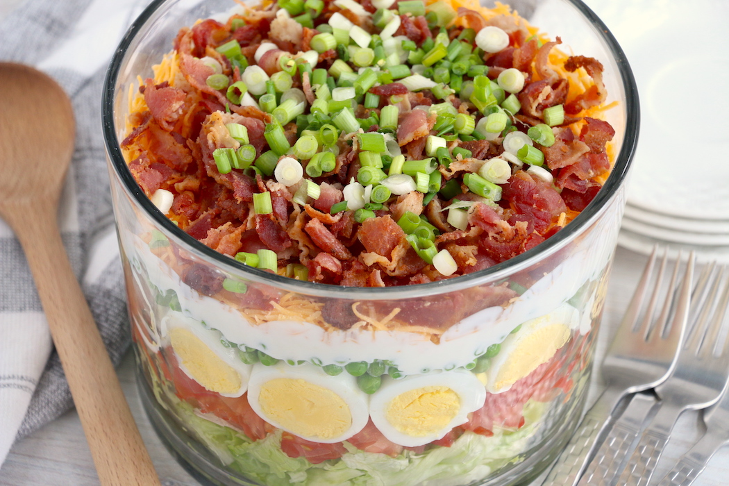 top view of seven layer salad