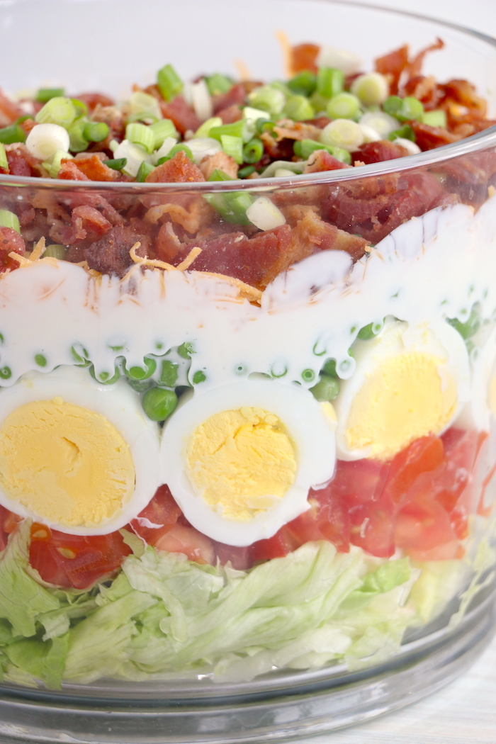 up close shot of seven layer salad