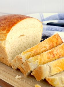 A sliced loaf of homemade bread