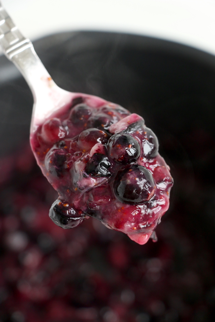 spoonful of glazed blueberries